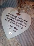 Shabby Personalised Chic Hanging Heart Gift Mother Of The Groom Any Name..